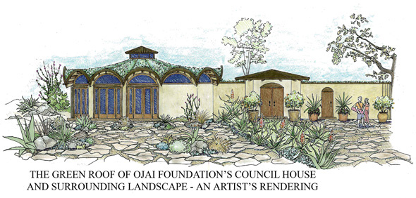 sketch of living roof and dry garden landscape with succulents in Ojai